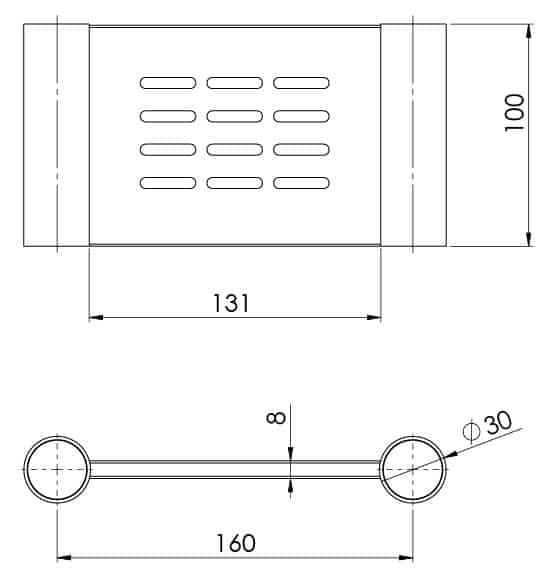 111 8300 Vivid Slimline Soap Dish Line Drawing