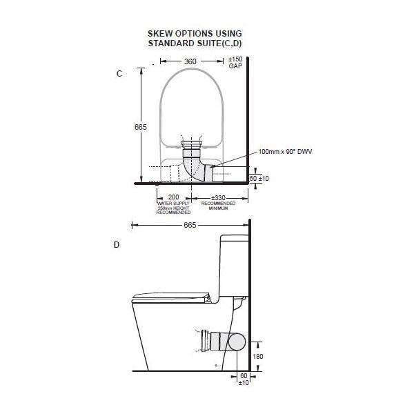 Cotto Space Solution Skew Toilet Suite 02
