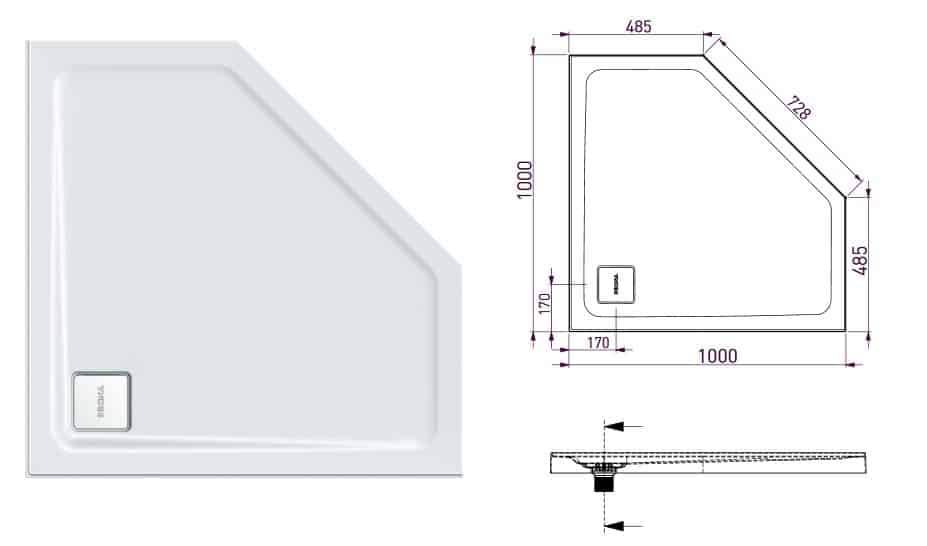 Decina Luna Showerbase Rear Corner 100x100 Specs