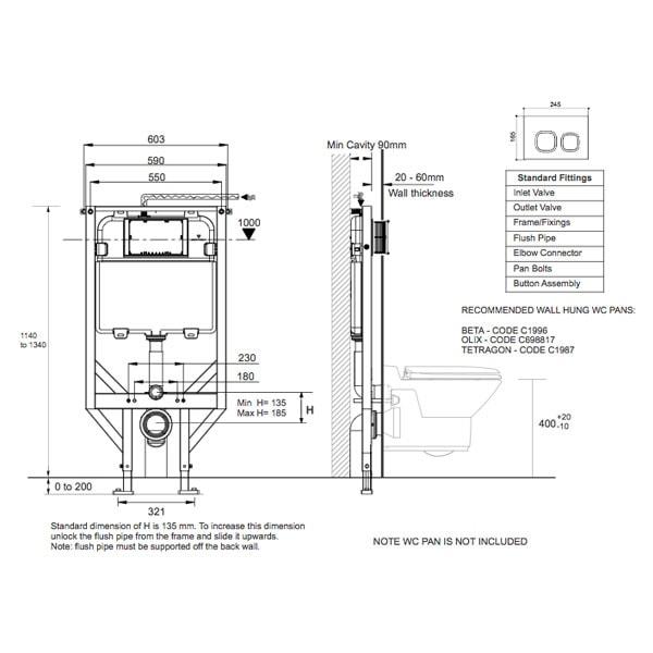 Econoflush Inwall Cistern Framed 02