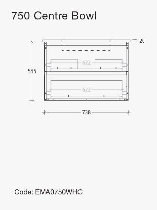 Emporia All Drawer Wallhung 750 Specs