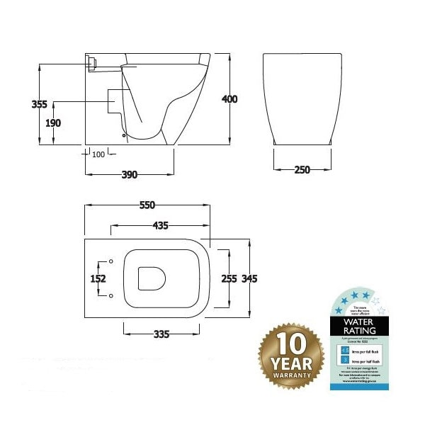 Fienza Caroline Wall Faced Pan + R&t Inwall Cistern 04