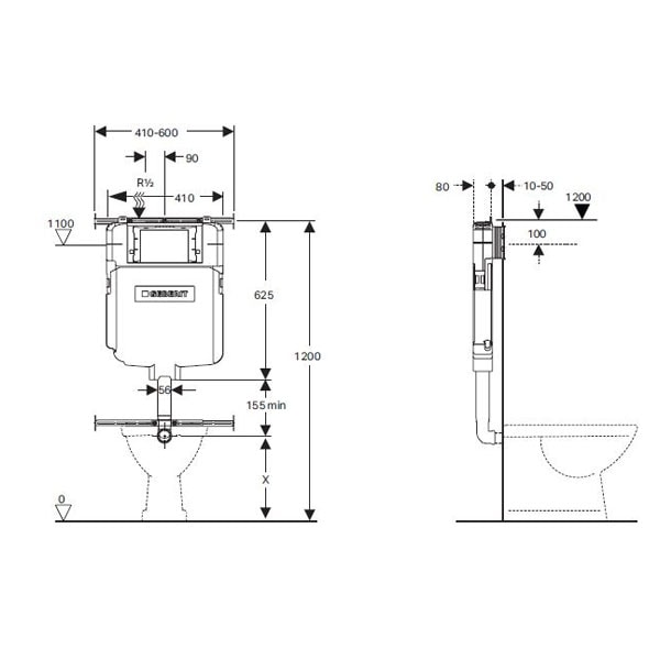 Fienza Caroline Wall Faced Pan + Geberit Inwall Cistern 07