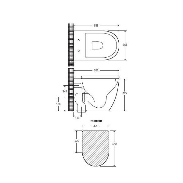 Fienza Koko Wall Faced Pan + Geberit Inwall Cistern 03