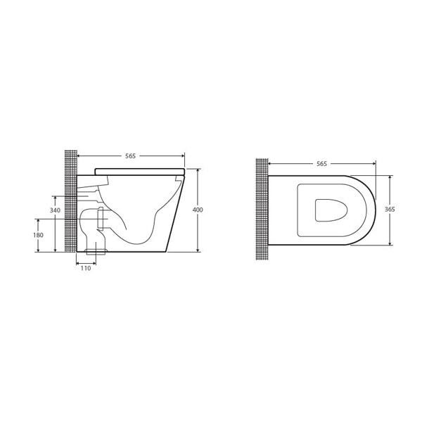 Fienza Lambada Wall Faced Pan + R&t Inwall Cistern 10