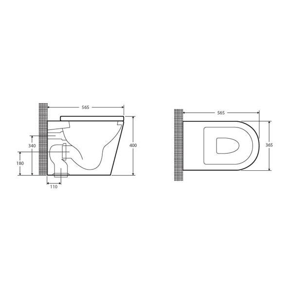 Fienza Lambada Wall Faced Pan + Geberit Inwall Cistern 03