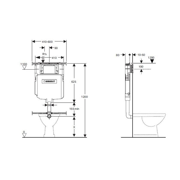 Fienza Moon Wall Faced Pan + Geberit Inwall Cistern 07