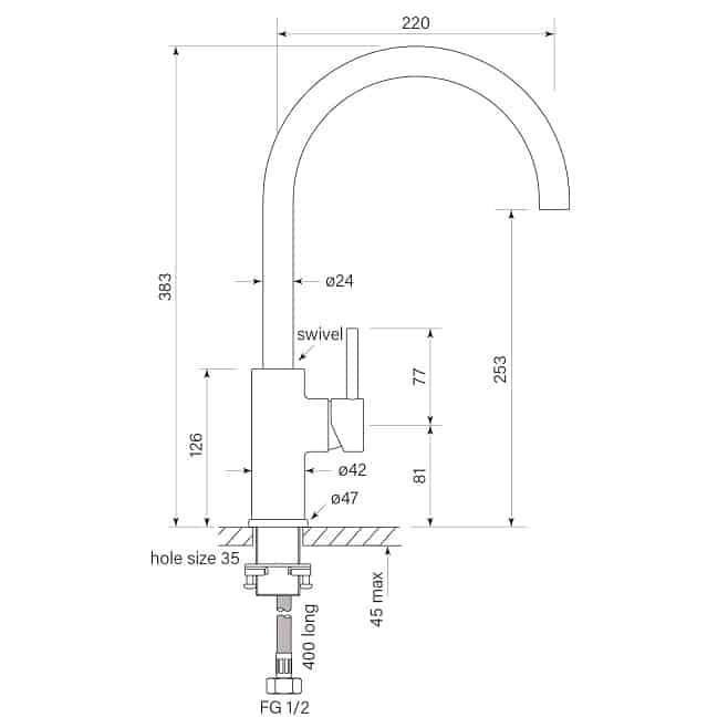 Faucet Pegasi M Basin Mix Curve 160 Specs