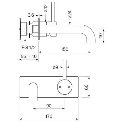 Faucet Pegasi M Wall Basinbp Mix 150 Specs