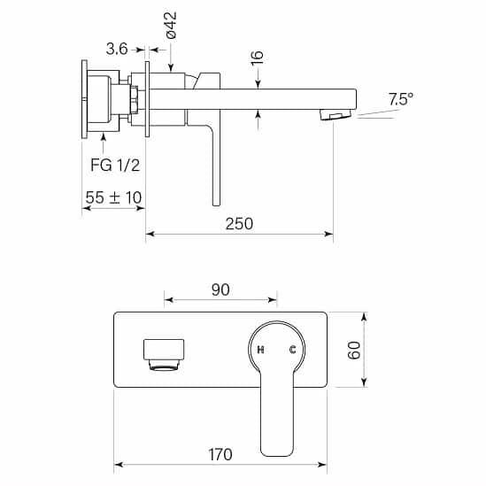 Faucet Zeos Backplate Basinmix 250 35122 Specs
