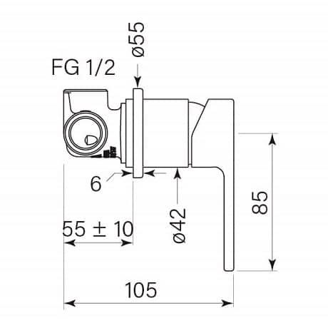 Faucet Zeos Wallmixer Round 35129 Specs