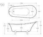 Fienza Clawfoot Bath 1700 Specs