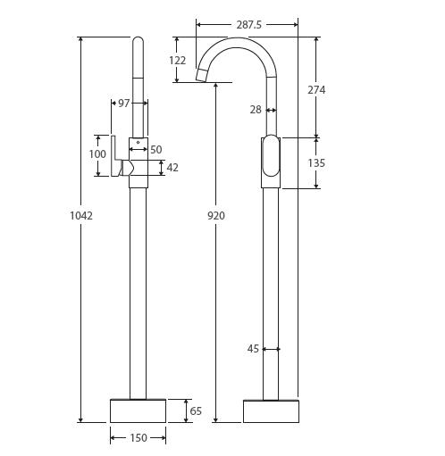 Fienza Empire Floor Stand Bath Mixer Specs