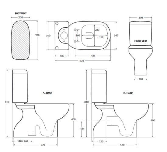 Fienza Liwa Toilet Suite Specs