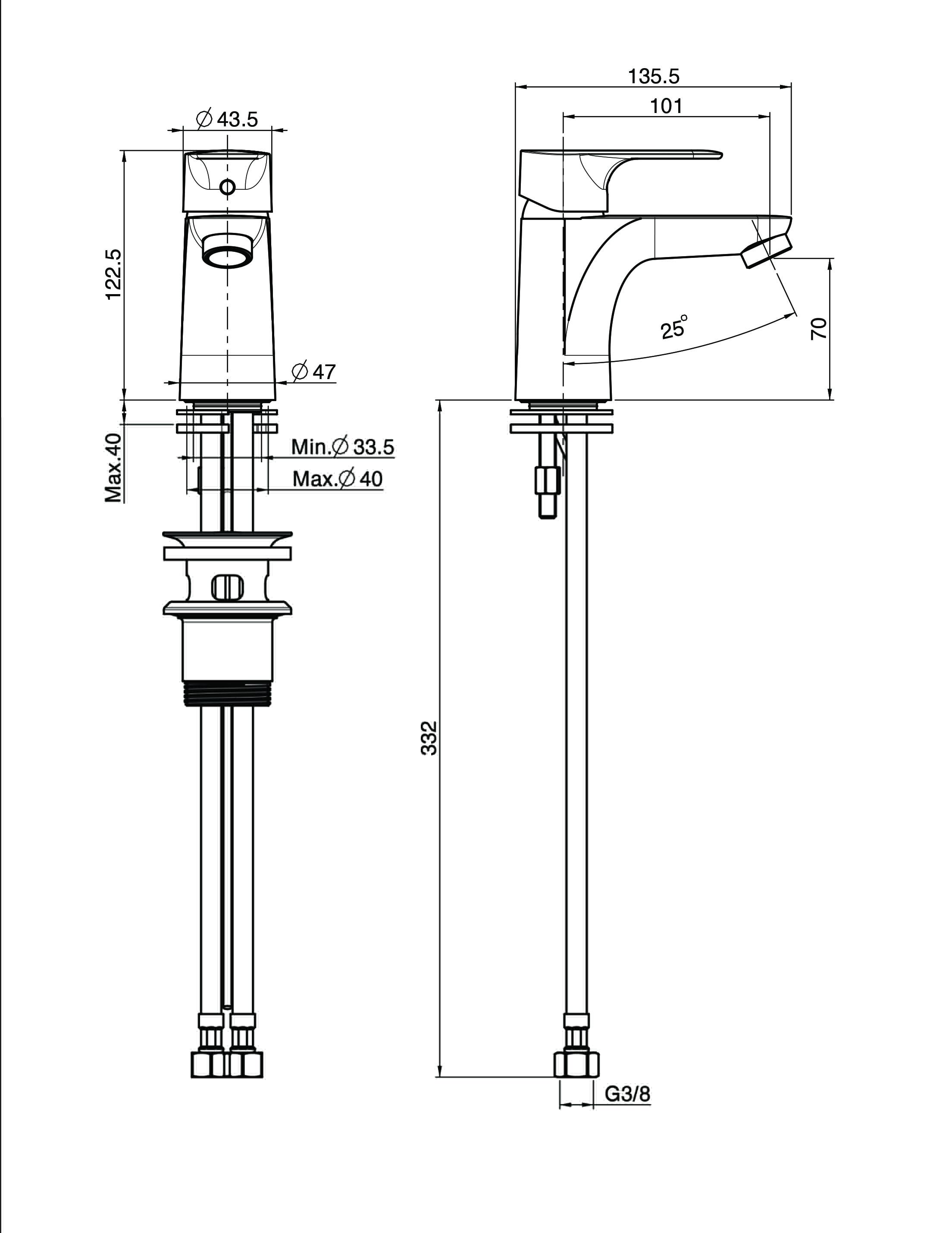Fima Series22 Basinmix 123 F3831 Technical Drawing