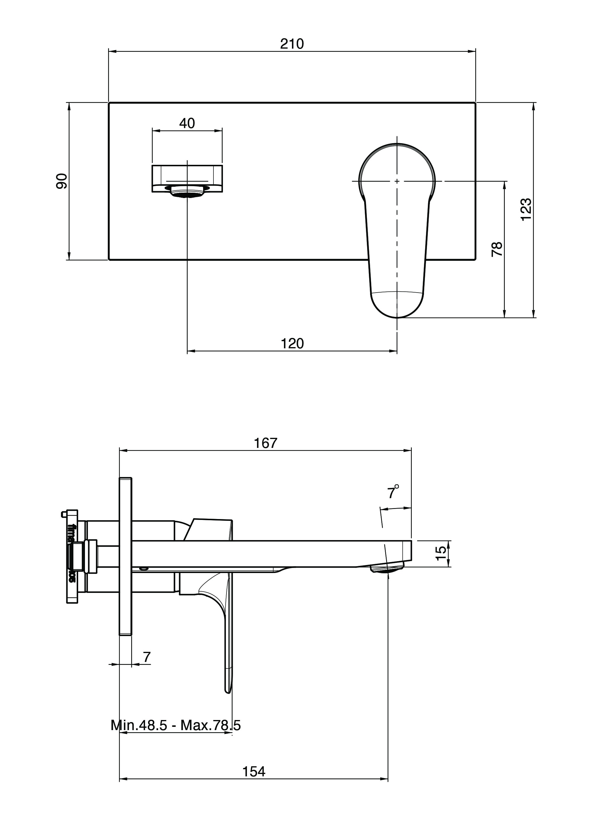 Fima Series22 Wallbasinmix 167 F3830x5 Technical Drawing