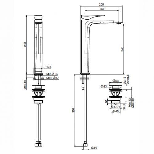 Fima Zeta Basin Mixer Specs F3961hn