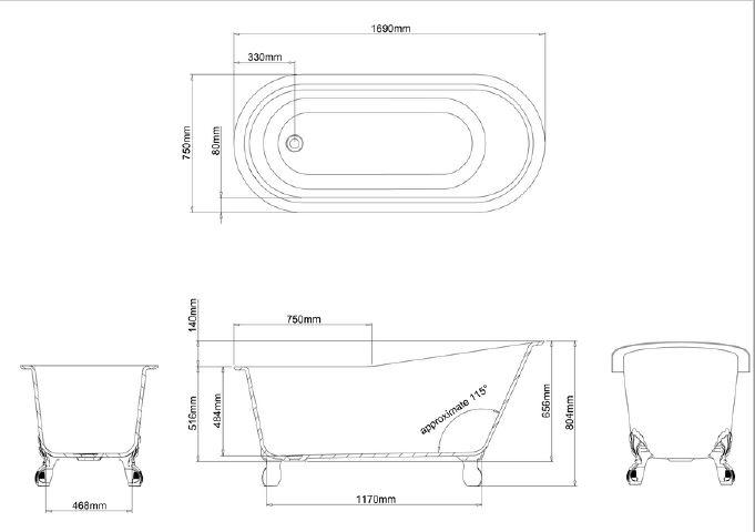 Ga Romano Grande Stone Bath 22837 Specs