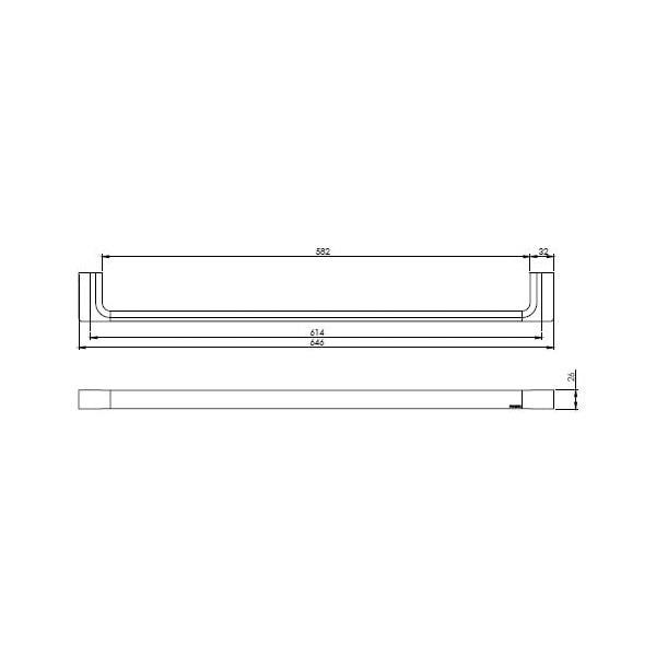 Gloss Towel Rail Single 600mm 05