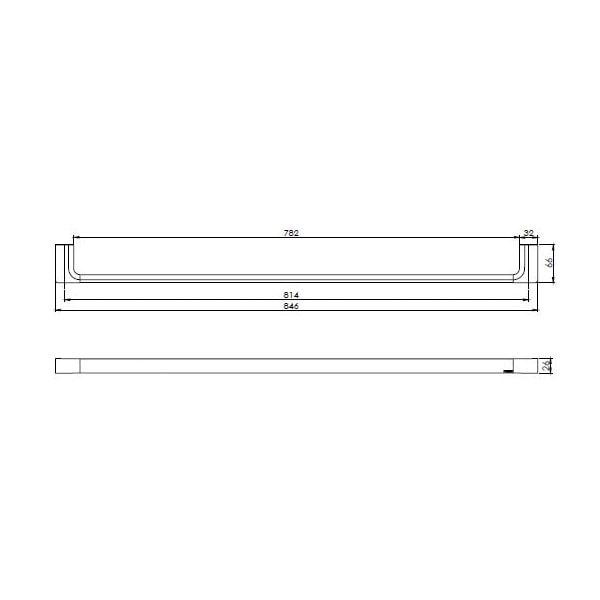 Gloss Towel Rail Single 800mm 02