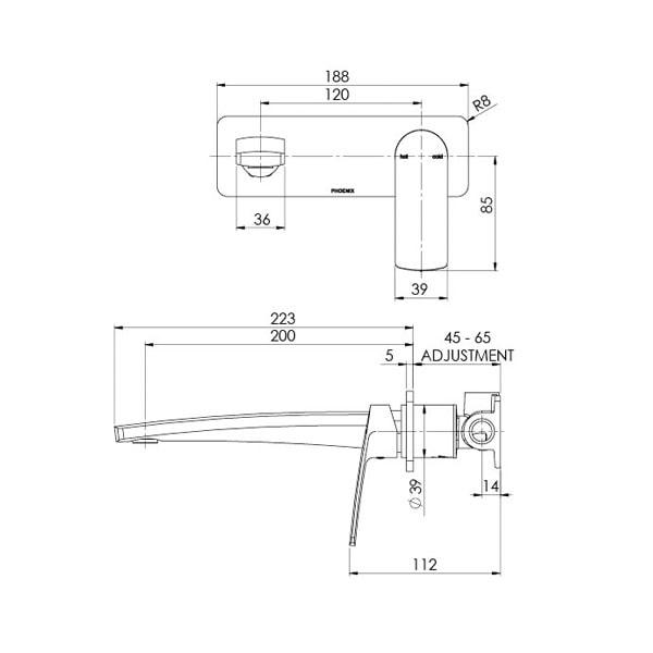 Mekko Wall Basinbath Mixer Set 200mm 05