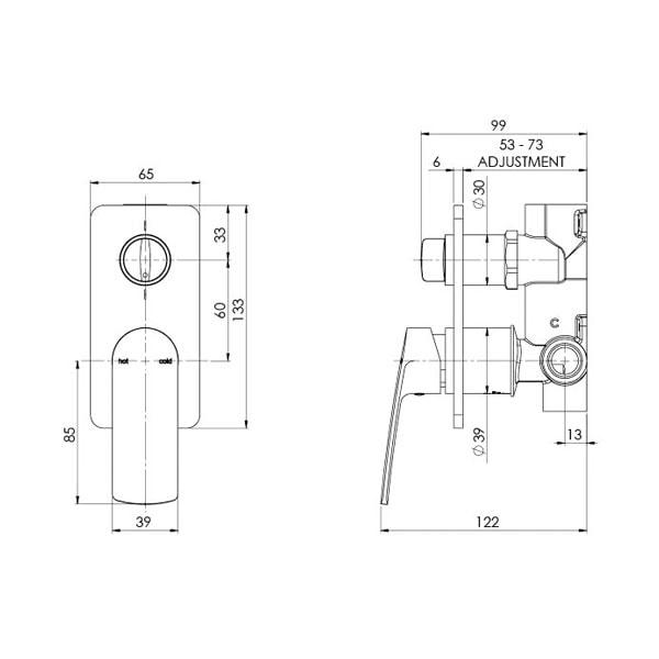 Mekko Wall Mixer Diverter 05