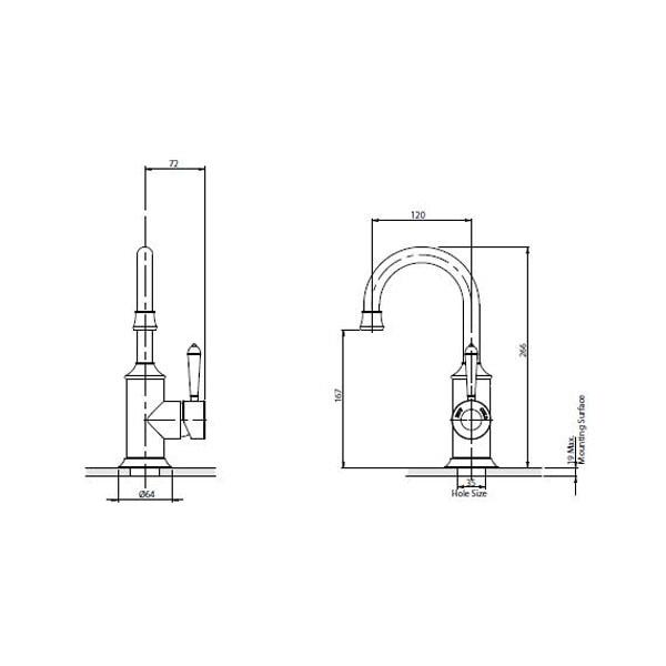 Nostalgia Basin Mixer 120mm Gooseneck 02