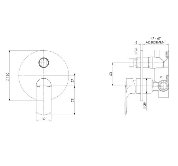 Phoenix Subi Wall Mixer Diverter Specs