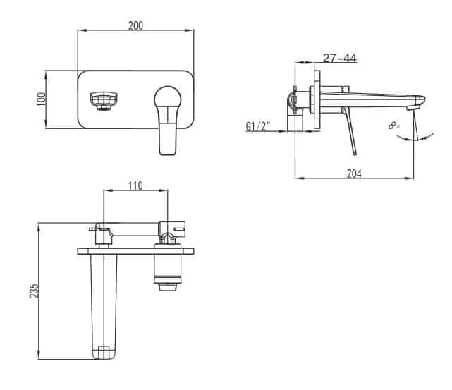 Pop Wall Mtd Basin Mixer Specs