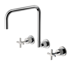 Ra810 Chr Radii Wall Sink Set 300mm Squareline 3