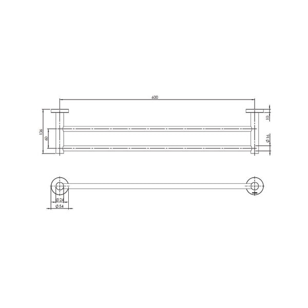 Radii Towel Rail Double 600mm Round Or Square Back Plate 04