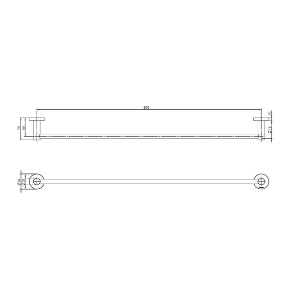 Radii Towel Rail Single 800mm Round Or Square Back Plate 02 03