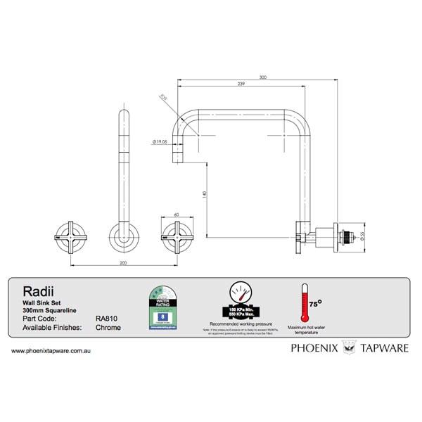 Radii Wall Sink Set 300mm 02