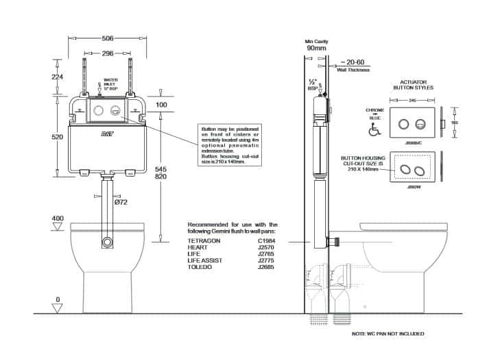 Rt Inwall Cistern Pneumatic Specs