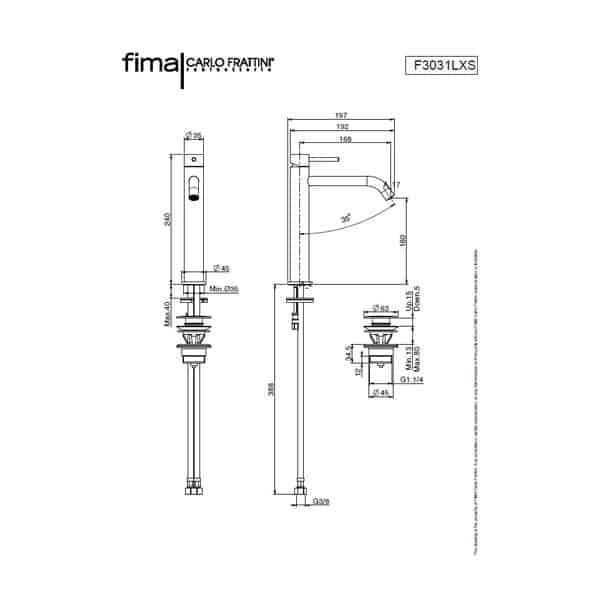 Spillo Up Basin Mixer 240mm 02