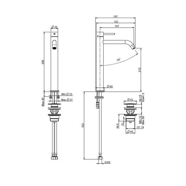 Spillo Up Basin Mixer 295mm 02