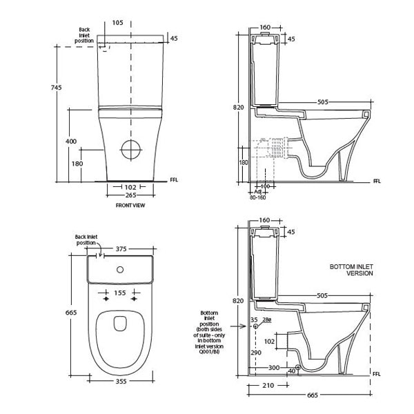 Studio Bagno Q Back To Wall Toilet Suite 04