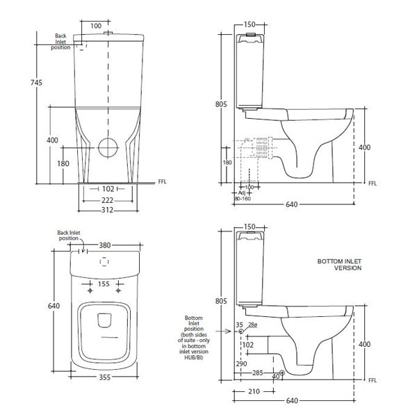 Studio Bagno Hub Back To Wall Toilet Suite 02