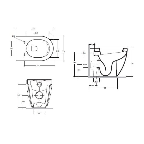 Studio Bagno Nicole Wall Faced Pan + Cistern 03