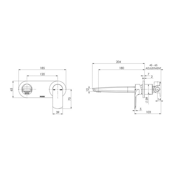 Subi Wall Mixer Set 180mm 02