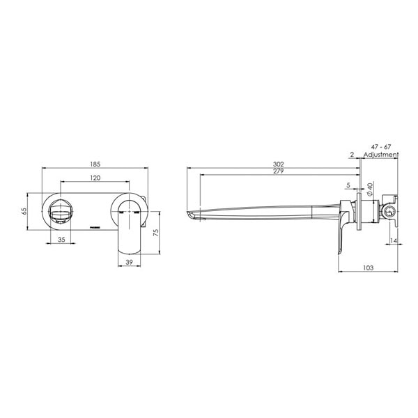 Subi Wall Mixer Set 280mm= 02