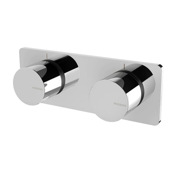 Toi Twin Shower Wall Mixer Chrome And Matte Black 01