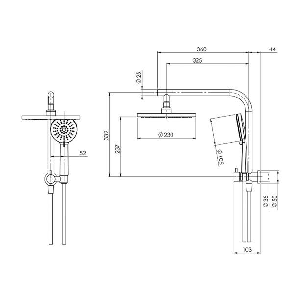 Vivid Slimline Compact Twin Shower 02