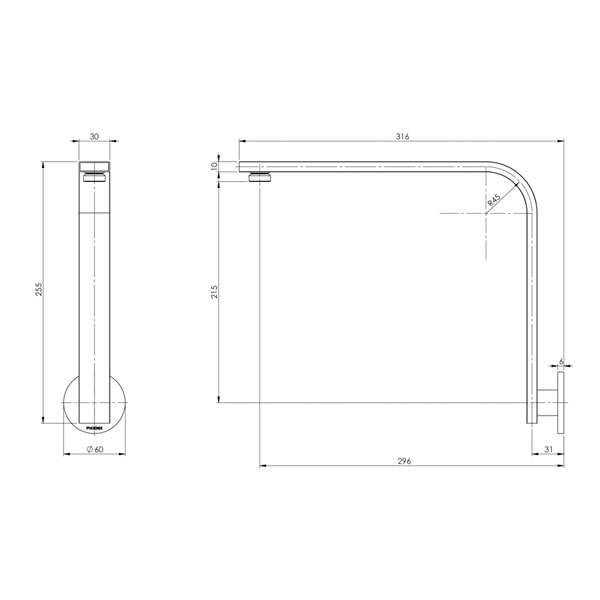 Vivid Slimline Shower Arm Round Plate 02