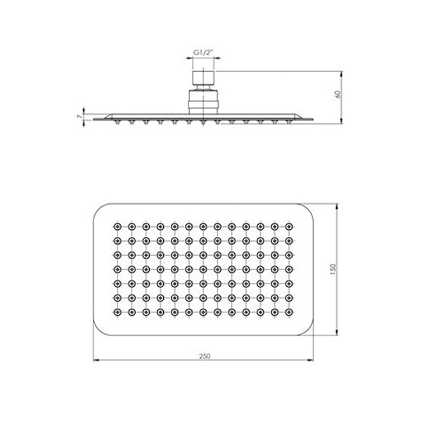 Vivid Slimline Shower Rose 250x150mm Slimline Rectangle 02