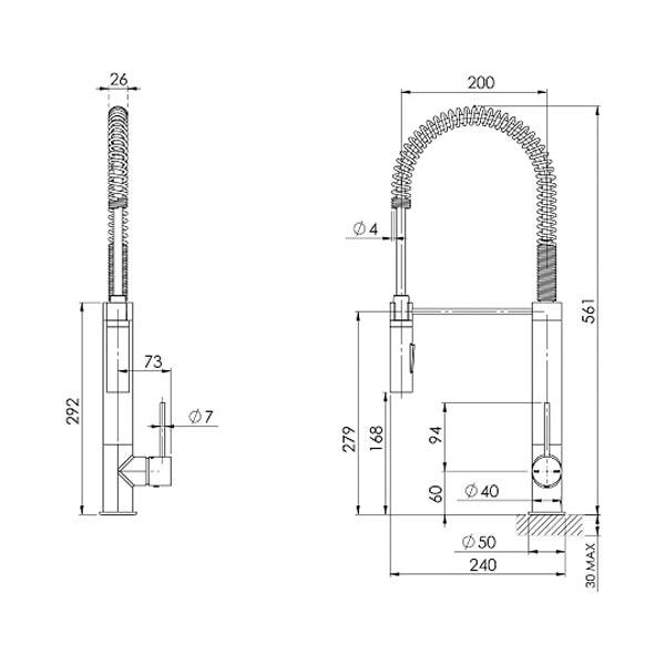 Vivid Slimline Spring Sink Mixer Tall 02