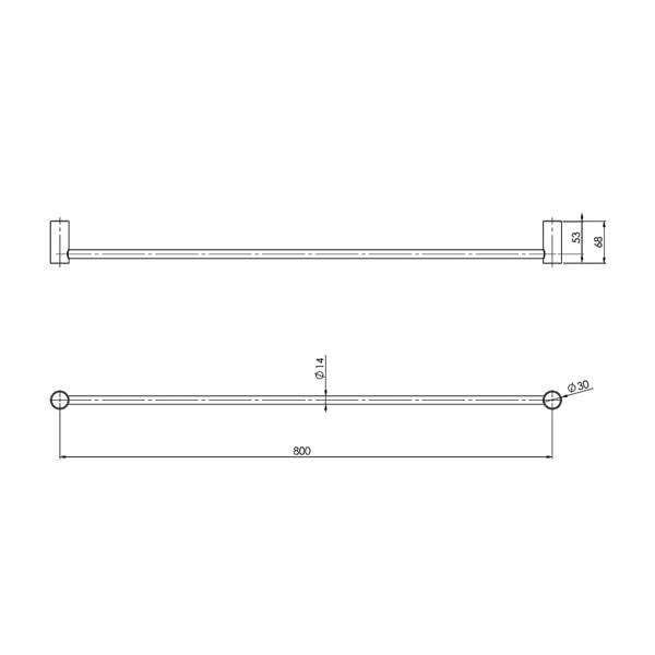 Vivid Slimline Towel Rail Single 800mm 03