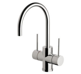 Vivid Slimline Twin Handle Sink Mixer 160mm 01