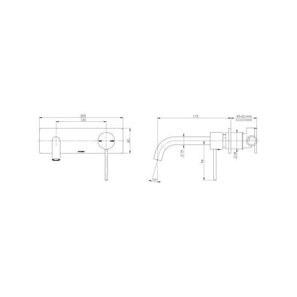 Vivid Slimline Wall Mixer Set 180mm 04