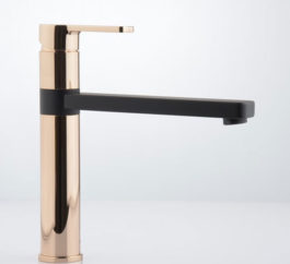 Zeos Sink Mixer Matte Black And Rose Gold 01